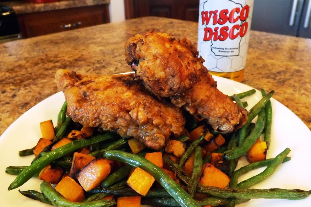 Fried Chicken with Sauteed Green Beans and Squash