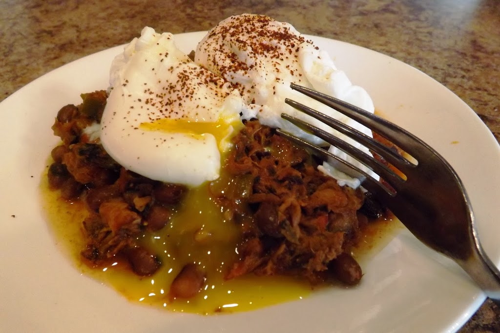 Poached Egg on Pulled Pork Chili