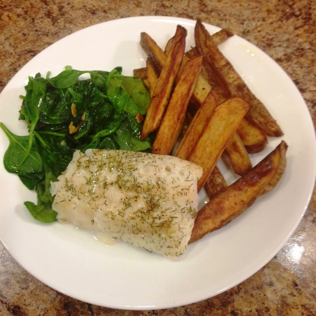 Baked Cod, Garlic Sauteed Spinach and Baked Fries