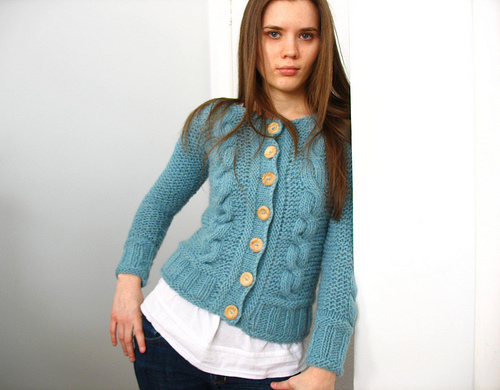 Nearfantastica's Bulky Blue Cabled Sweater