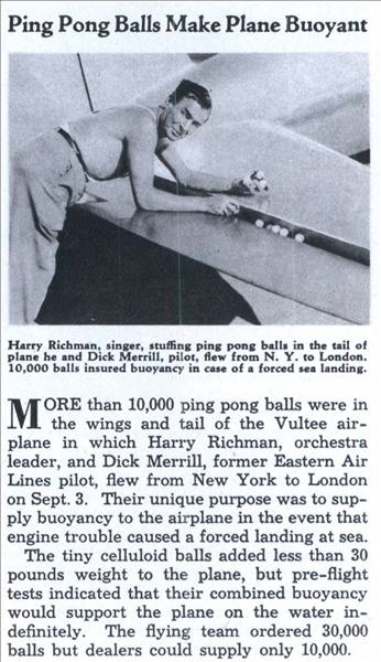Ping Pong balls make plane buoyant
