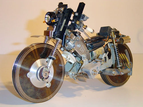 Motorcycle sculpture from recycled parts