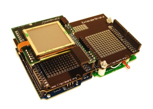 TouchShield & battery pack for Arduino