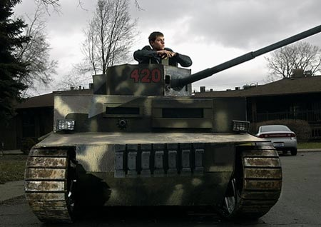 Model Panzer tank is made from a generator