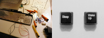 Keyboard is decontextualized into an alarm clock
