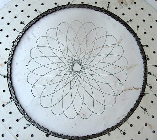 Spirograph with bike parts