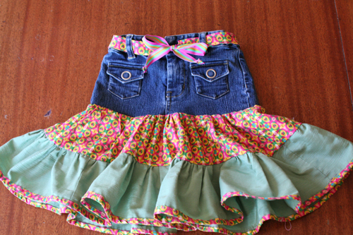 Refashion Girl's Jeans into a Fiesta Skirt