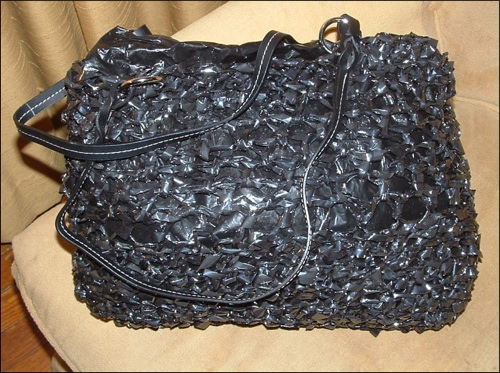 Crocheted VHS tape purse