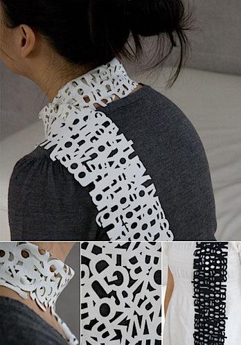 Laser cut text scarves