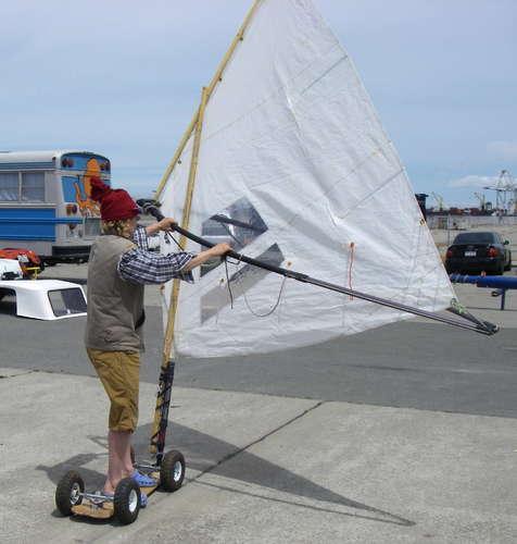 Skateboard windsurfer