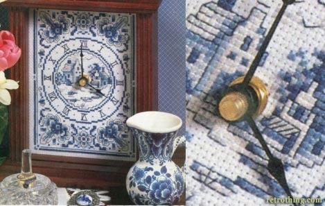 Delft ceramic style cross-stitch mantle clock