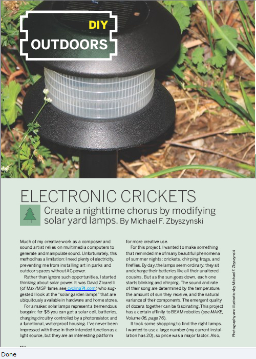Weekend Project: Electronic Crickets (PDF)