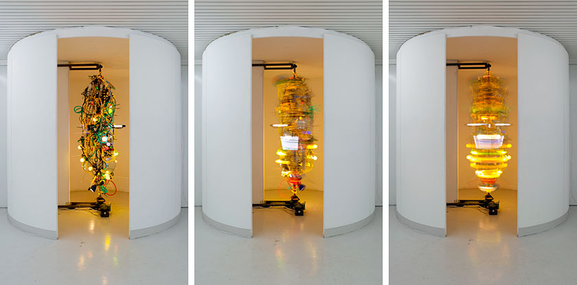 Swirling electronics installation mimics Las Vegas chaos