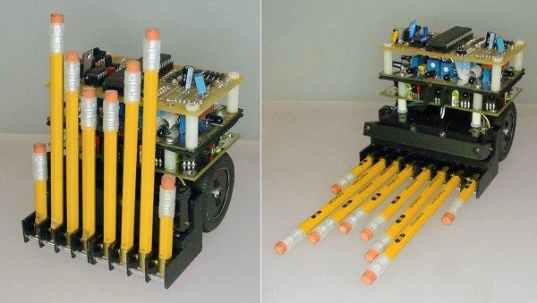 Autonomous bot uses pencil erasers as bumpers