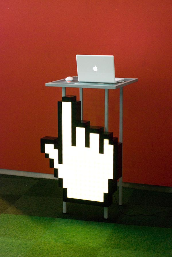 Giant mouse pointer hand will point you in the right direction