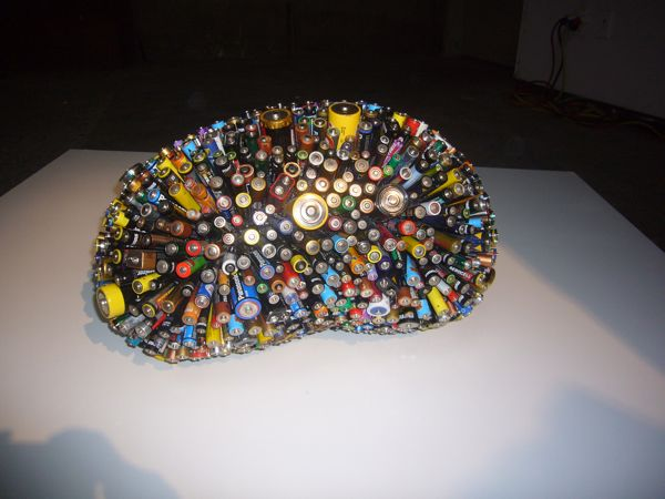 Ball of batteries cools and forms organic object