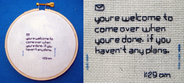 Embroidered text messages