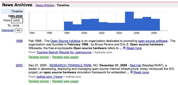 """""""Open source hardware"""" – a news timeline"""