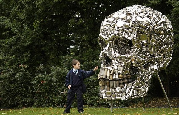 Giant skull made from kitchen stuff