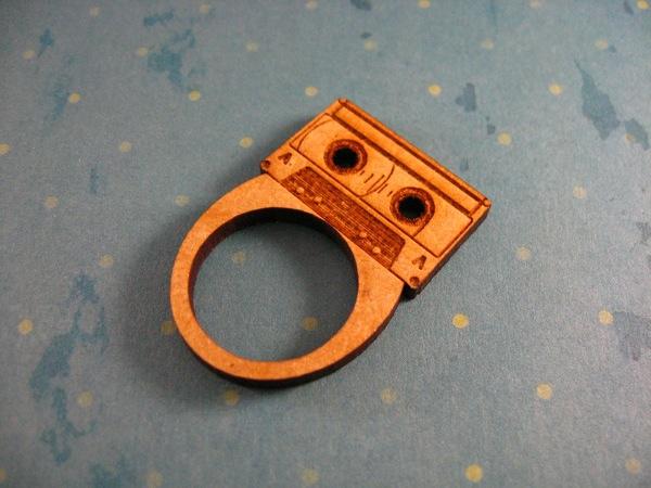 Laser cut jewelry – Floppy disk & cassette ring