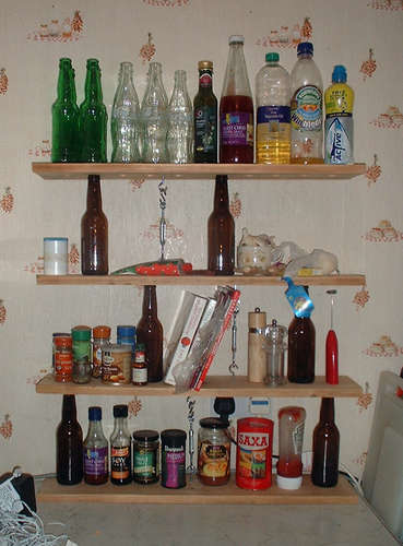 Glass bottle shelving