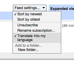 Google reader can auto-translate