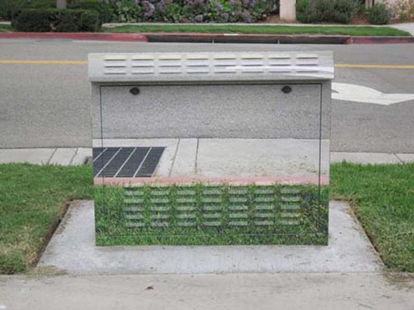 Urban objects morph into the surrounding scenery