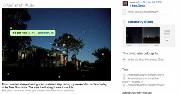 The astrometry pool on Flickr automatically adds labels to the astronomy photos you upload