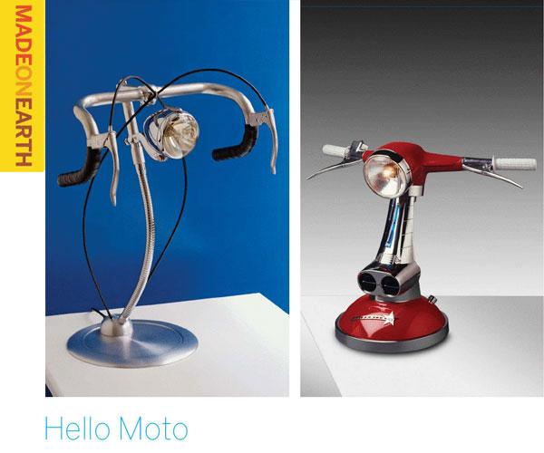 Hello Moto – scooter headlight is a desk lamp
