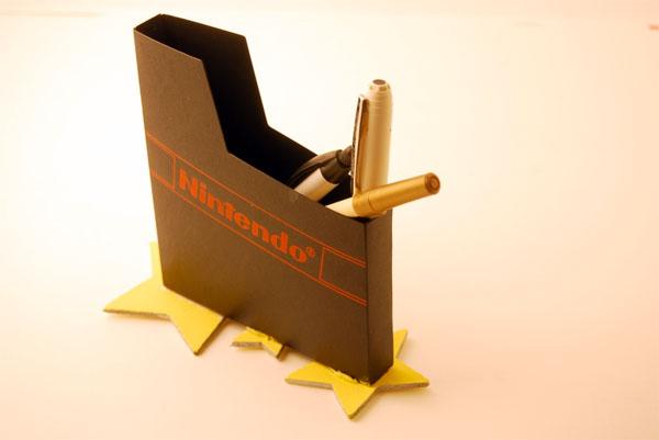 NES cart sleeve pen-cup