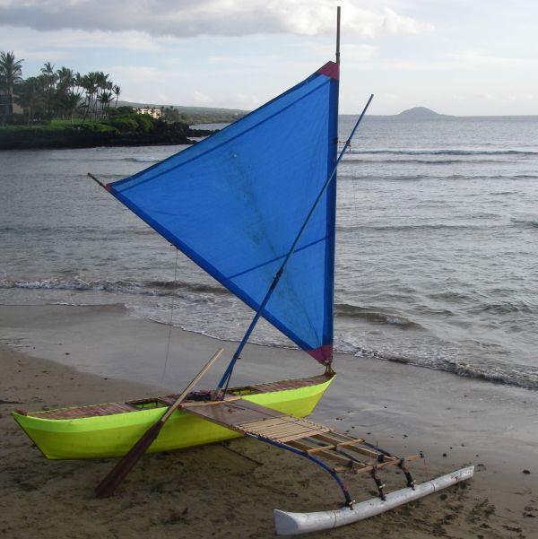 Handmade sailing canoe