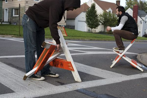 Recycled roadblock chairs