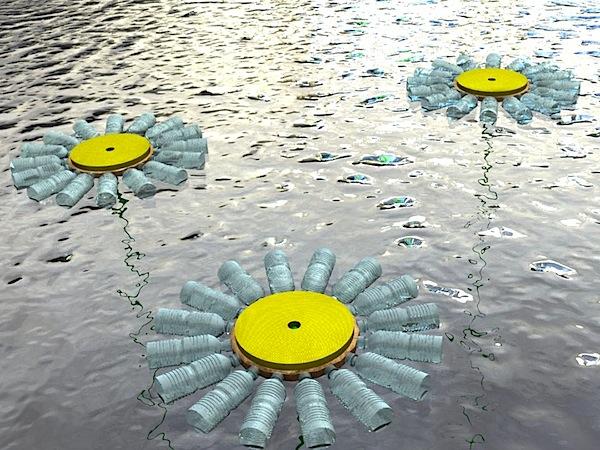 Lake buoys from plastic bottles