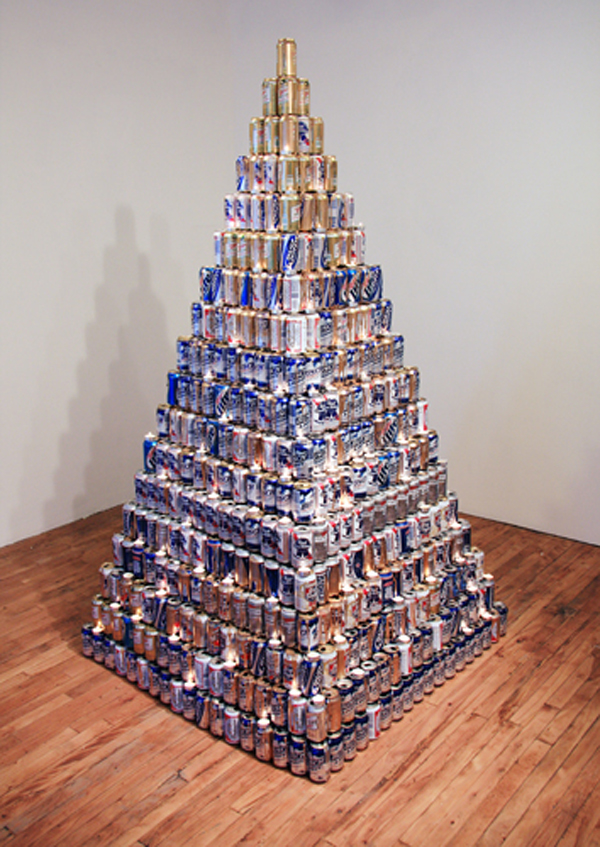 Pyramid made from hundreds of beer cans will be trounced on super bowl sunday