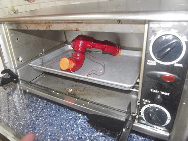 Powder coating in an old oven