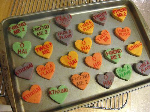 Geeky messaging on shortbread hearts