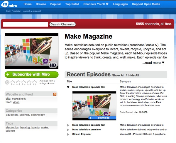 RSS feed of the Make: television torrents & Make magazine channel on Miro!