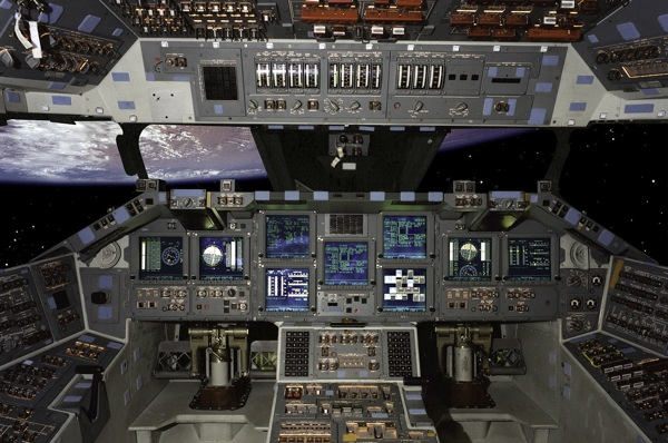 Space shuttle cockpit…
