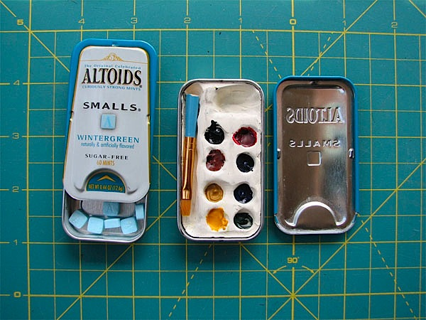All-in-one mint tin watercolor kit