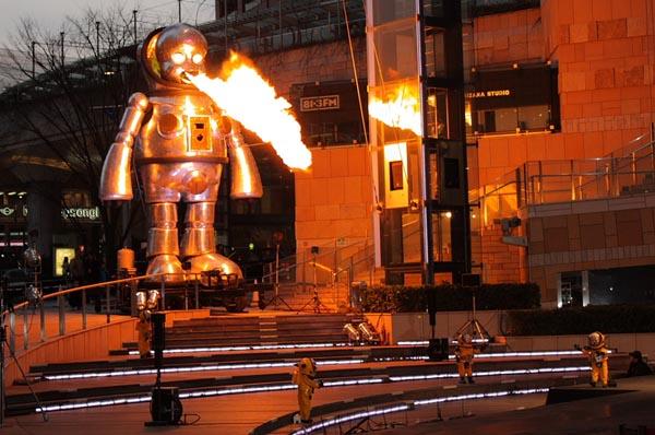 Giant flame-throwing robo-babies