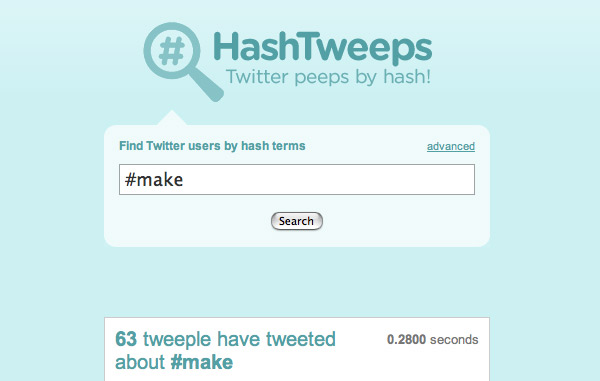 HashTweeps – find Twitter users by hash tag