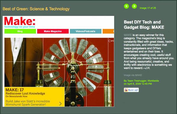 Make: Online wins Treehugger Award!
