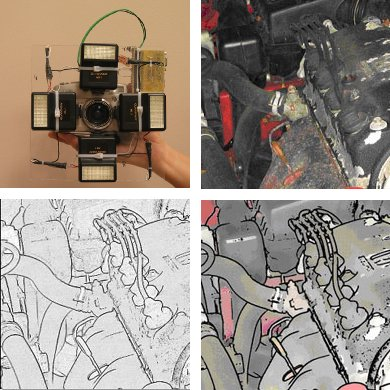 Multi-flash camera makes automatic line drawings