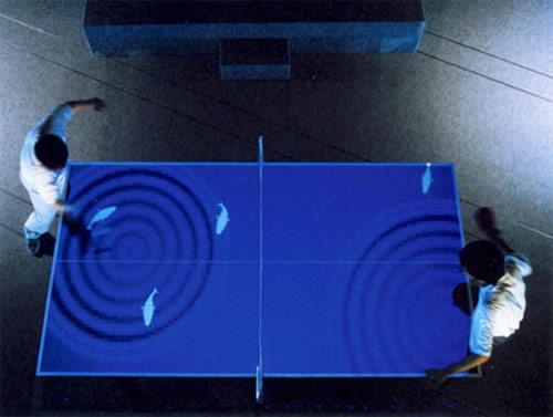 Interactive ping-pong table / virtual aquarium