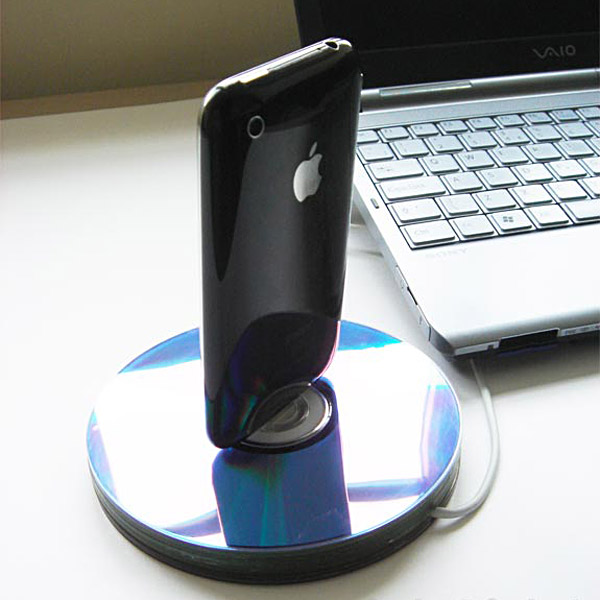 Upcycle CD iPhone Dock
