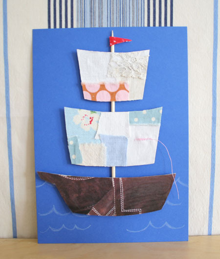 How-To: Make a Fabric Scraps Ship Father's Day Card