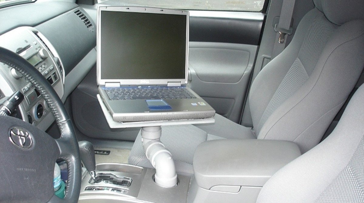 Low-cost laptop car mount using cupholder | Make: