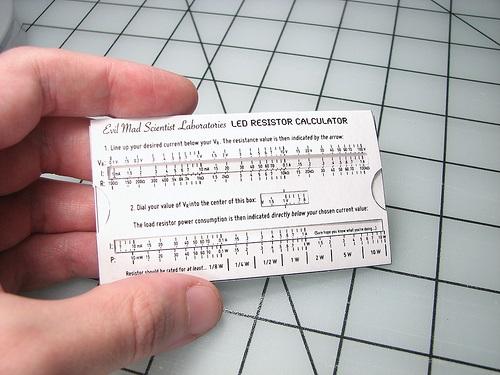 Wallet-size LED resistance calculator!