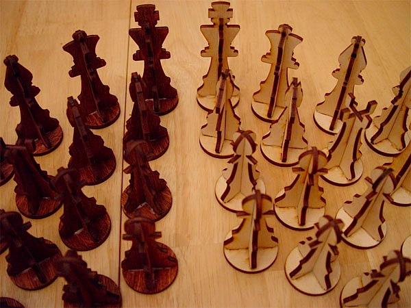 Plywood chess set