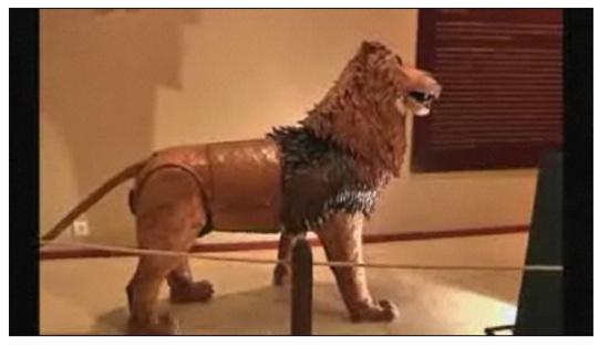 Da Vinci's lion springs to life